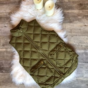 JCrew Excursion Quilted Vest Olive Green (size xs)